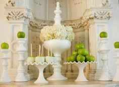 Modern green apple decor combined with romantic white.