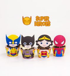 Superhero Inspired Cupcake Toppers Wrappers Birthday Party Printables / Instant Digital Download DIY