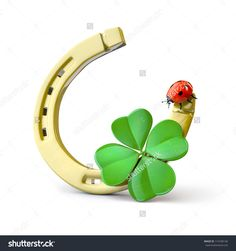 Lucky symbols : horse-shoe, four-leaf clover and ladybug Lucky Symbols, Good Luck Symbols, Good Luck Clover, Impression Poster, Lucky Plant, Horseshoe Crafts, Four Leaves, Beautiful Bugs, Four Leaf Clover