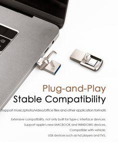 EAGET CU20 USB3.0 Type-C Pendrive USB OTG Type C 16GB 32GB 64GB Metal USB Flash Drive Dual Plug Apple New, New Macbook, Laptop Accessories, Usb Flash Drive, Usb Drive