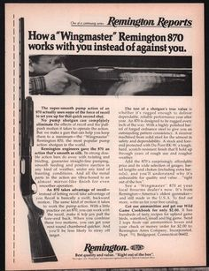 1977 REMINGTON 870 Wingmaster Pump Action Shotgun Print Ad #Remington
