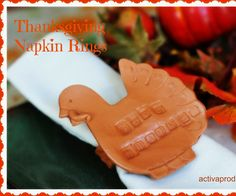 """Thanksgiving is just around the corner and what could be more perfect than personalized turkey napkin rings? Set a beautiful table and feel the warmth of the holidays with this extra touch!Materials needed:ACTÍVA Plus Clay in terracottaACTÍVA Product's Clay Roller kit or wooden slats ¼"""" thick and rolling pinCotton sheeting cut into 8"""" x 8"""" squareSmall cup of waterWooden skewerCrocheted doily (optional)RulerTwo cardboard ..."""