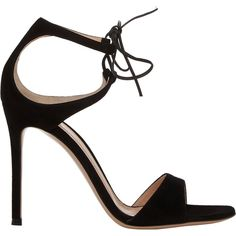 Gianvito Rossi Women's Darcy Double-Strap Sandals (647.605 CLP) ❤ liked on Polyvore featuring shoes, sandals, heels, gianvito rossi, black, leather heeled sandals, leather sandals, black leather sandals, open toe heel sandals and black leather shoes
