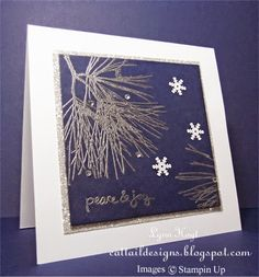 Cattail Designs: Stampin Up, Ornamental Pine Christmas Stampin Up Christmas Card, Silver Embossing. Christmas Cards 2018, Stampin Up Christmas, Christmas Baubles, Holiday Cards, Blue Christmas, Embossed Cards, Stamping Up Cards, Winter Cards, Winter Theme