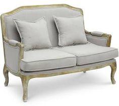 Baxton Studio Constanza Classic French Loveseat, Antiqued Oak | Sofas & Loveseats | ta2256-ls-beige