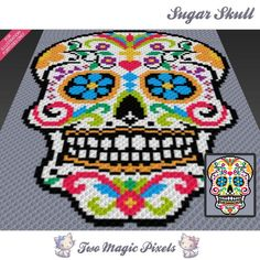 Sugar Skull crochet blanket pattern knitting by TwoMagicPixels Crochet Afghans, Tapestry Crochet, Crochet Blanket Patterns, Stitch Patterns, Knitting Patterns, Crochet Squares, Crochet C2c Pattern, Crochet Skull Patterns, C2c Crochet Blanket