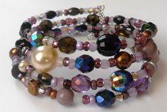 New jewelry - unique, handmade bead memory wire bracelet! Antique Purple Memory Wire Bracelet by VineDesignBeads on Etsy, $16.00