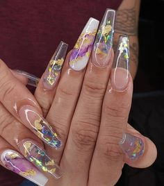 In seek out some nail designs and ideas for your nails? Here's our list of 18 must-try coffin acrylic nails for trendy women. Summer Acrylic Nails, Best Acrylic Nails, Acrylic Nails With Glitter, Summer Nails, Acrylic Nails Chrome, Perfect Nails, Gorgeous Nails, Swag Nails, My Nails