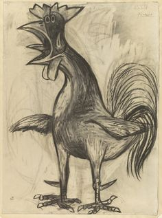 """Pablo Picasso. The Cock (Le Coq). 1938. Charcoal on paper. 30 1/4 x 22 3/8"""" (76.9 x 56.9 cm). Gift of Mr. and Mrs. David Rockefeller. 80.1991. © 2018 Estate of Pablo Picasso / Artists Rights Society (ARS), New York. Drawings and Prints"""