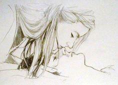 Dibujo a lápiz de una pareja enamorada a punto de darse un tierno beso