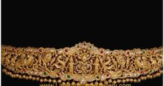Heavy designer gold bridal vaddanam in intricate design featuring Lord Krishna peacocks studded with diamonds rubies and emeralds beautified with gold ball drops. Vaddanam Designs, Waist Belts, Latest Jewellery, Lord Krishna, Temple Jewellery, Emeralds, Peacocks, Jewelry Trends, Indian Jewelry