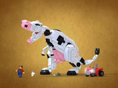 Tyrannocow This must be in my collection haha Lego Dino, Lego Robot, Lego Toys, Power Rangers, Lego Machines, Cool Pixel Art, Lego Sculptures, Amazing Lego Creations, Lego Craft