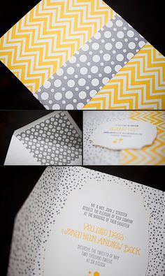 Letterpress invitations featuring our Palmer design, printed in pewter + yolk inks. Fabulous use of patterns in this suite!