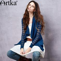 Artka Women's 2015 Autumn Perforated Full Sleeve Shawl Collar No Button Cotton Linen Sweater Cardigan WB15255C