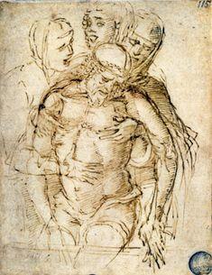 Pieta by Andrea Mantegna Renaissance Kunst, Italian Renaissance, Italian Painters, Italian Artist, Sculpture Romaine, La Pieta, Andrea Mantegna, Baptism Of Christ, European Paintings