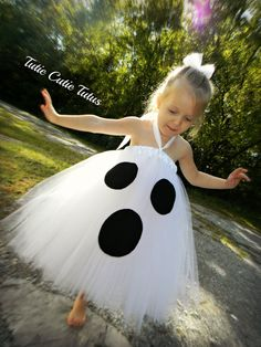 """Ghost Costume Tutu Dress 6yrs -12. $48.00, via Etsy. // I don't look at this and instantly see """"ghost."""" I look at it and get confused.  You're a Dalmation with only three spots. You're a wonky cow. I'm confused."""