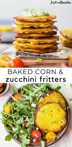 This baked corn and zucchini fritters recipe is easy to make! The best summer produce comes together to make a light and healthy appetizer, side dish or meatless main dish that's ready in less than 30 minutes. Vegan Side Dishes, Vegetarian Main Dishes, Side Dishes Easy, Vegetarian Recipes, Recipes Appetizers And Snacks, Healthy Appetizers, Brunch Recipes, Recipes Dinner, Breakfast Recipes