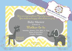 Chevron, yellow and grey, Giraffe and Elephant baby shower invitation. I would love to help you custom design one! Like me on facebook to learn more. www.facebook.com/erinmizedesigns