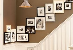 Family Photo Wall Display up the stairs and the wall color is delightful Photowall Ideas, Little Green Notebook, Home Decoracion, Diy Décoration, Photo Displays, Display Photos, Wedding Pics, Frames On Wall, Art Frames