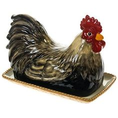 Earthenware Rooster Butter Dish http://shop.crackerbarrel.com/Earthenware-Rooster-Butter-Dish/dp/B015ZTO2T0