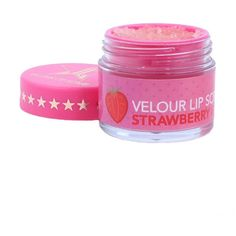 Jeffree Star Cosmetics Strawberry Gum Lip Scrub ($23) ❤ liked on Polyvore featuring beauty products, skincare, lip care, lip treatments, makeup and pink