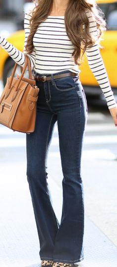 off shoulder striped top // flared jeans // leopard heels // Celine handbag