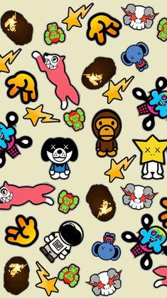 The culture of Bathing Ape! Wallpaper Tumblr Lockscreen, Iphone Homescreen Wallpaper, Cartoon Wallpaper Iphone, Bape Art, Bape Kids, Sick Drawings, Bape Wallpapers, Cool Album Covers, Twitter Backgrounds