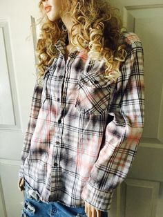 Super soft grunge bleached flannel unisex shirt by Cranberrymoons Flannel Shirts, Flannels, Dye Shirt, Shirt Jacket, Bleach Shirts, Tye Dye, Soft Grunge, Boho Gypsy, Craft Ideas
