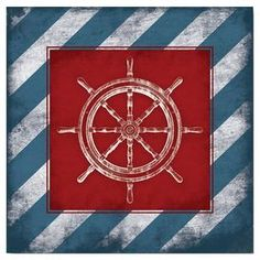 "Perfect as an eye-catching focal point or in a coastal-chic vignette, this lovely canvas print showcases a helm and stripe motif.  Product: Canvas printConstruction Material: Canvas and metalColor: Red, white and blueFeatures:  Helm motifStripe detailsDimensions: 16"" H x 16"" W x 1.5"" D"