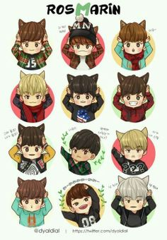 Exo showtime chibi aaah they are all so adorable! Kpop Exo, Exo Showtime, Exo Anime, Wolf Ears, Chanyeol Baekhyun, Exo Fan Art, Xiuchen, Exo Memes, Cute Chibi
