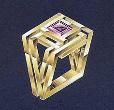 """2001 - OSSIAN. 1º Premio en el concurso """"Joyas de Autor"""". Madrid. Ilustración. Técnica acuarela. Anillo: Oro amarillo + Amatista. NURIA PARRADO SARANDESES"""