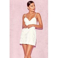 'Desiree'  White Floral Applique Dress