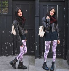 Brixton Infinity Scarf, Nila Anthony Furry Backpack, Target Pleather Jacket, Urban Outfitters Floral Leggings, Jeffrey Campbell Pixel Boots