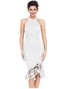 Sleeveless Lace Fishtail Bodycon Dress 5c5696fcf657