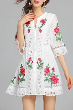 Elegant Rose Embroidered and Cut Out Dress