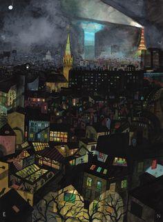 Vue de ma fenêtre, Nuit aquarelle, encre et gouache sur papier 54 x 72 cm - Brecht Evens