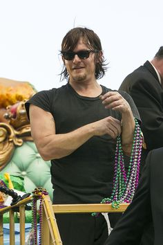 Norman Reedus takes to the floats for the Endymion parade during Mardi Gras, New Orleans, LA