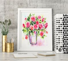 Check out this item in my Etsy shop https://www.etsy.com/listing/463958690/watercolor-flower-vase-painting-art
