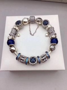Pandora blue theme bracelet with 19 pcs charm blue