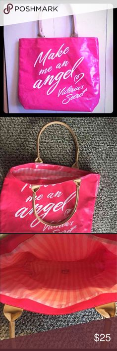 "Huge Victoria Secret Tote-New Extremely large Victoria Secret Tote in Hot Pink. ""Make me an Angel"" in white lettering on front. Pale Pink and white signature Victoria Secret striping on inside. Measures 18"" wide, 16"" tall and 5"" deep. Straps are about nine inches at highest point.  I have never used it but it is a tad wrinkled just on the back from being stored. Victoria's Secret Bags Totes"
