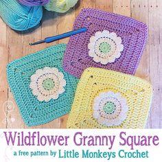Wildflower Granny Square, free crochet pattern by Little Monkeys Crochet.