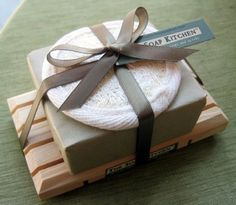 Soap w/ Wooden Dish & Mini Loofah More