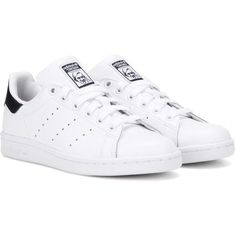 Adidas Originals Stan Smith Leather Sneakers (£63) ❤ liked on Polyvore featuring shoes, sneakers, adidas, flats, sneak, white, leather shoes, real leather shoes, genuine leather shoes and adidas originals sneakers