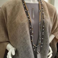 Julie Cohn Design necklaces paired with an Eileen Fisher NY outfit.