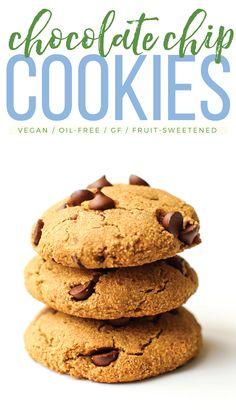 Easy Vegan Chocolate Chip Cookies #oilfree #glutenfree #vegan #dessert #healthy #sugarfree