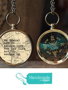 """""""We travel not to escape life, but for life not to escape us"""" Quote Photo Compass, Travel Compass, Wanderlust Compass, Compass Jewelry, Photo Jewelry, Gift Idea, Travel Gift, Christmas Gift from The Lakeside Studio https://smile.amazon.com/dp/B017UNCJ4Y/ref=hnd_sw_r_pi_dp_aKKNybDVX9RTK #handmadeatamazon"""