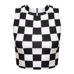 Shirley Monochrome Check Crop Top ($11) ❤ liked on Polyvore