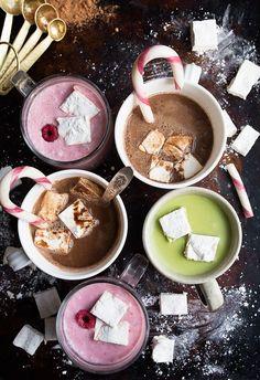 Homemade Hot Cocoa Recipes: raspberry hot cocoa, matcha hot chocolate, and regular hot chocolate recipes.