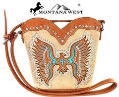 Montana West~Native American Thunderbird Design Messenger Bag~Bling~Purse~Tan #MontanaWest…