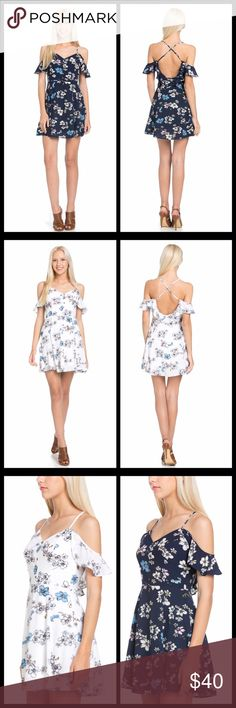 ❤️Floral off shoulder dress  Cute floral of shoulder dress with X open back and adjustable straps. Material 100% Polyester and lining underneath. Please choose color and size together Dresses Backless